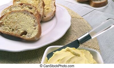 Breakfast table with toast - Breakfast table with bread...