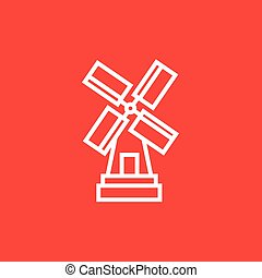 Windmill line icon - Windmill thick line icon with pointed...