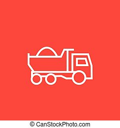 Dump truck line icon - Dump truck thick line icon with...