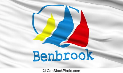 Close Up Waving National Flag of BenBrook City - BenBrook...