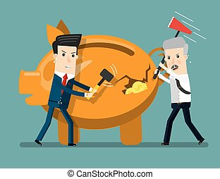 Piggy Bank Breaking By Hammer Business concept cartoon...