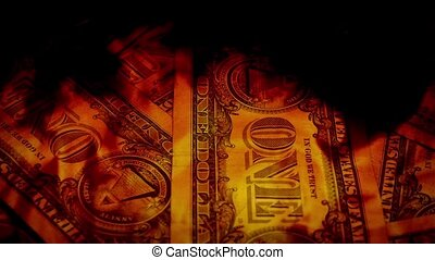Dollars In Fire - Dollar bills rotating in flames concept....
