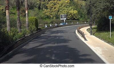 The road from the bus on the Cote d'Azur. Nice, South of...