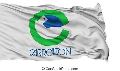 Isolated Waving National Flag of Carrollton City -...