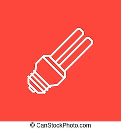 Energy saving light bulb line icon - Energy saving light...