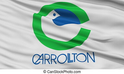Close Up Waving National Flag of Carrollton City -...