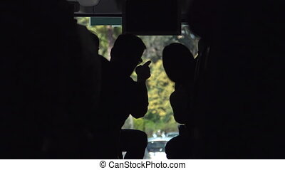 Man and woman talking in the bus - Silhouette of Man and...