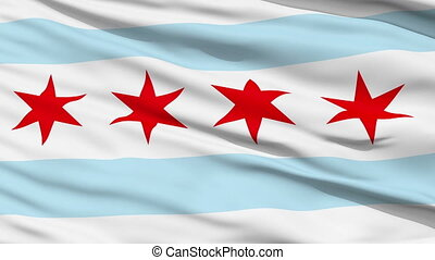 Close Up Waving National Flag of Chicago City - Chicago City...
