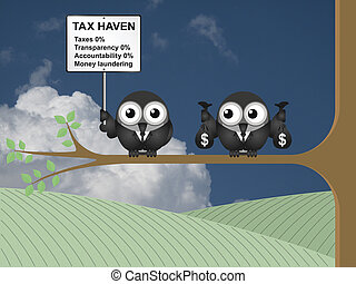 Tax Haven Sign - Bird businessman holding bags of money...