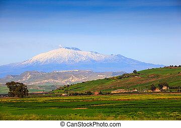 volcan, Etna, ,