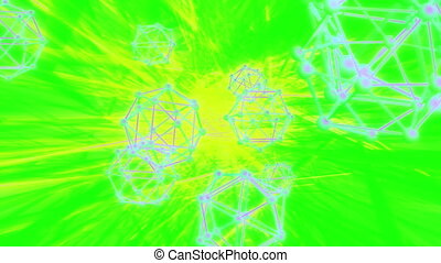 Octa sphere abstract VJ looping animated background neon...