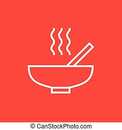 Bowl of hot soup with spoon line icon - Bowl of hot soup...