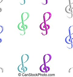 Seamless colored treble clef pattern on white background