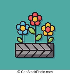 植物, ベクトル, 花, アイコン