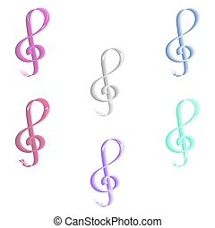 Seamless pastel colored treble clef pattern on white...