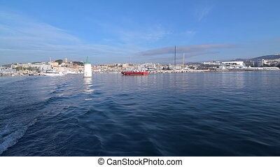 Boat at a mooring - Boat at a mooring at Cannes pier