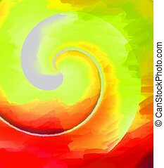 Abstract spiral design. Digital drawing in green and red...