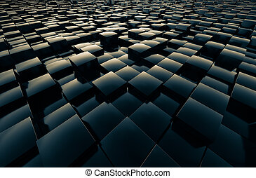 Fields cubic abstract - Fields cubic reflective shiny...