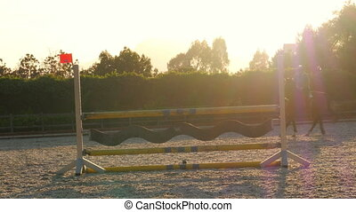 """Horse jumping hurdle at sunset, """