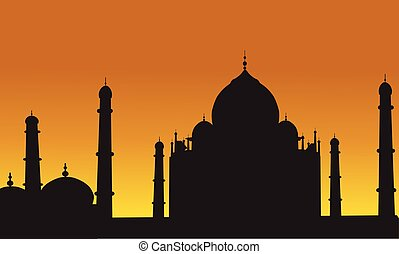 Taj Mahal of silhouette at the sunset