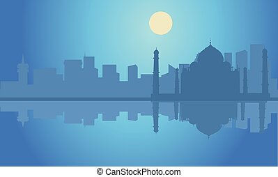 Silhouette Taj Mahal  india at night