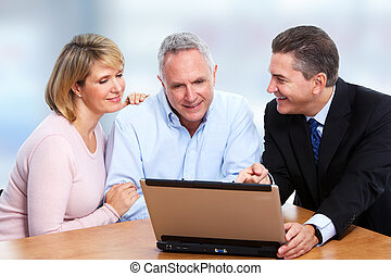Senior couple with insurance agent - Senior couple talking...