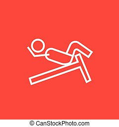 Man doing crunches on incline bench line icon - Man doing...