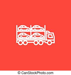 Car carrier line icon. - Car carrier thick line icon with...