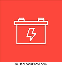 Car battery line icon - Car battery thick line icon with...