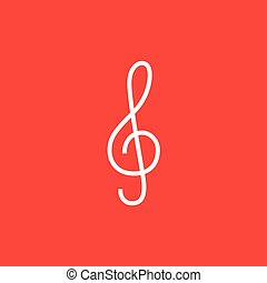 G-clef line icon. - G-clef thick line icon with pointed...