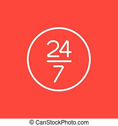 Open 24 hours and 7 days in wheek sign line icon - Open 24...