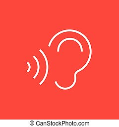 Ear and sound waves line icon - Ear and sound waves thick...