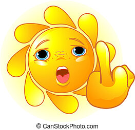 Sun shows a middle finger - Cute Sun shows a middle finger