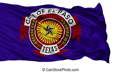 Isolated Waving National Flag of El Paso City - El Paso City...