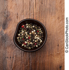 pepper - Pepper mix in the bowl, wooden background