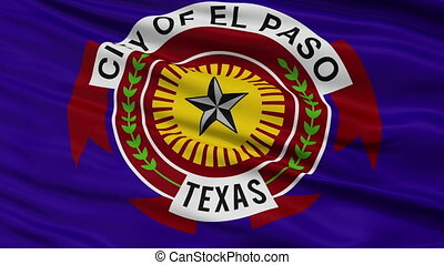 Close Up Waving National Flag of El Paso City - El Paso City...