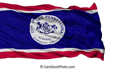 Isolated Waving National Flag of Erie City - Erie City Flag...