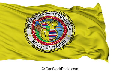 Isolated Waving National Flag of Honolulu City - Honolulu...