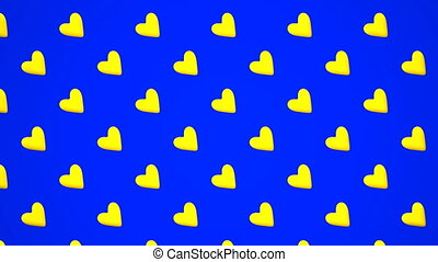 Yellow Hearts Abstract On Blue Background Loop able 3DCG...