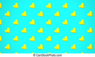 Yellow Hearts Abstract On Light Blue Background. Loop able...