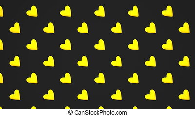 Yellow Hearts Abstract On Black Background. Loop able 3DCG...