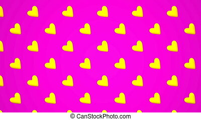 Yellow Hearts Abstract On Pink Background Loop able 3DCG...