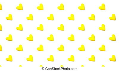 Yellow Hearts Abstract On White Background Loop able 3DCG...