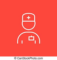 Nurse line icon. - Nurse thick line icon with pointed...