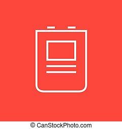 Heart defibrillator line icon. - Heart defibrillator thick...
