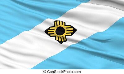Close Up Waving National Flag of Madison City - Madison City...