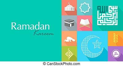 islam koran ramadan kareem flat icon card - islam ramadan...