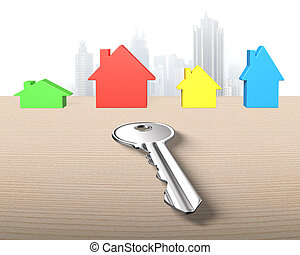Four colorful houses and one silver key