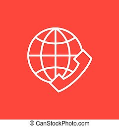 Global communications line icon. - A globe with a headset...