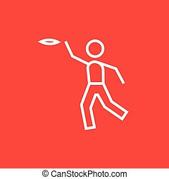 Man playing with flying disc line icon. - Man playing with...